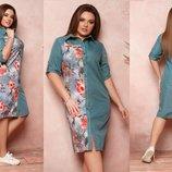 Платье рубашка XL коттон стрейч,софт олива