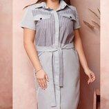 Платье рубашка XL коттон стрейч серый