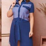 Нарядное двухцверное платье-рубашка, большой размер