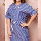 Платье XL коттон стрейч бежевый серый джинсовый принт полоска