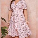 Платье XL имитация запах софт принт цветы лето