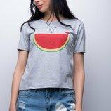 Женская футболка Кит-Арбуз прямого кроя с принтом Турция скл.4 арт. 3669