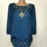 Шикарная брендовая темно-изумрудная блуза туника вышиванка р.14 46-48-50 пог 52