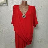 На шикарные формы Брендовая нарядная стрейчевая блуза туника р20