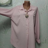 Шикарная брендовая нежная пудровая рубаха блуза вышиванка р.16 54-56-58 пог 60