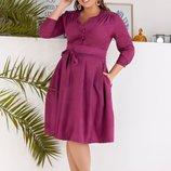 Платье XL с кокеткой замш фуксия