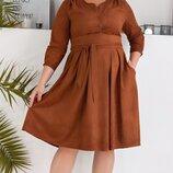 Платье нарядное XL с кокеткой замш карамель