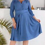 Платье нарядное XL с кокеткой замш джинсовый