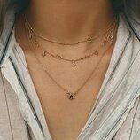 Тройная цепочка ожерелье с подвесками кристаллами под золото