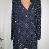 Новое стильное платье в горошек на запах Missguided 16p