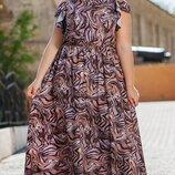 Платье XL c открытыми плечами Турция супер-софт принт