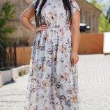 Платье XL с открытыми плечами Турция супер-софт принт цветы