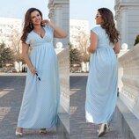 Длинное платье Горох Запах 48-64 материал - софт Длина 147см