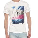 Мужская футболка белая Lc Waikiki / Лс Вайкики с серфингистом на волнах
