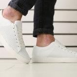 Мужские кеды, белые кожаные на шнурках с перфорацией, код ks-2700-1