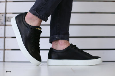 Мужские кеды, кожаные на шнурках, код ks-8403