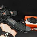 Кожаные подростковые сандалии Nike black