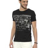 Мужская футболка черная Lc Waikiki / Лс Вайкики с надписью New York Shuttle