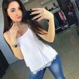 Шелковая блуза майка Perfect с кружевом Армани свободного кроя на тонких брителях арт462 скл.10
