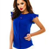 Женская шифоновая блузка с коротким рукавом Сьюзи свободного кроя с брошью арт.422 скл.10