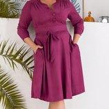 Женское замшевое платье батал с карманами микс цветов скл.1 арт.54538