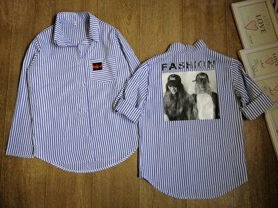 Модная рубашка на девочку, ткань коттон