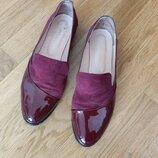 Стильные Лоферы туфли р. 39 нат замш кожа лак