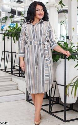 Женское турецкое платье рубашка в полоску ткань натуральный лен все размеры скл.1 арт. 54542