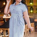 Женское коттоновое платье в тонкую полоску Турция батал скл.1 арт. 54543