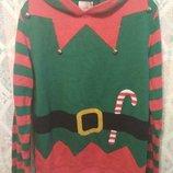 Новогодний свитер с капюшоном бубенцами George