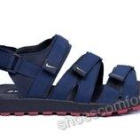 Мужские кожаные сандалии Nike Summer blue синие реплика