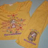 Летний комплект футболка брючки для девочки 3/4года