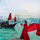 Картина По Номерам. BRUSHME Девушка У Набережной Гонг-Конга GX24920