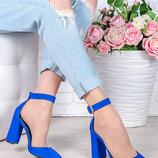 Замшевые женские босоножки-туфли на толстом каблуке из натуральной замши