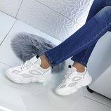 Кроссовки цвет - Белый материал - иск.кожа сетка , подошва 3 см