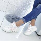 кроссовки Кроссовки цвет - Белый Розовый материал - иск.кожа сетка , подошва 3 см
