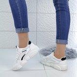 Кроссовки цвет - Белый Черный материал - иск.кожа сетка , подошва 3 см