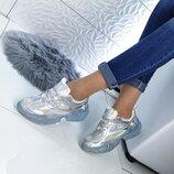 Кроссовки цвет - Серебро, подошва 3,5см - прозрачная,