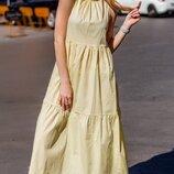 Платье летнее коттон принт горох мелкий жёлтый бежевый