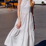 Платье летнее бенгалин принт горошек черный на белом