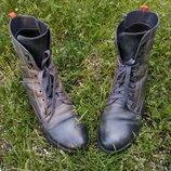 Ботинки сапоги женские Берцы Кожаные Crazy horse Зимние на шнуровке Carinii 40 р Синие серые