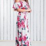 Платье сарафан в пол 42-54, шелк армани принт розы на черном белом