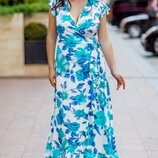 Платье на запах 42-54р. шелк армани принт розы