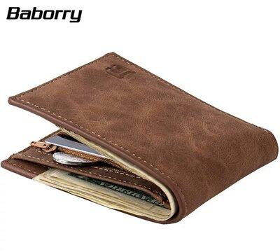 Мужской компактный кошелек с искусственного нубука, 2 цвета, новый