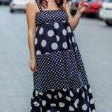 Платье сарафан в пол 42-54 р.коттон принт горох черный белый