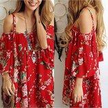 Цветочное пляжное платье