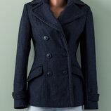 Теплое стильное темно-синее пальто с шерстью