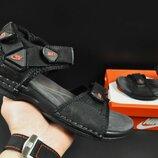 Кожаные сандалии подростковые NIKE 36-41р черные