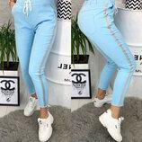Женские спортивные брюки штаны Hard новые размеры ткань джинс бенгалин арт.162 скл.10