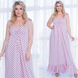 Женское длинное платье в горох ткань штапель размеры батал скл.1 арт. 54616